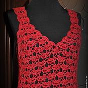 """Одежда ручной работы. Ярмарка Мастеров - ручная работа Платье крючком  """"Красная роза"""". Handmade."""