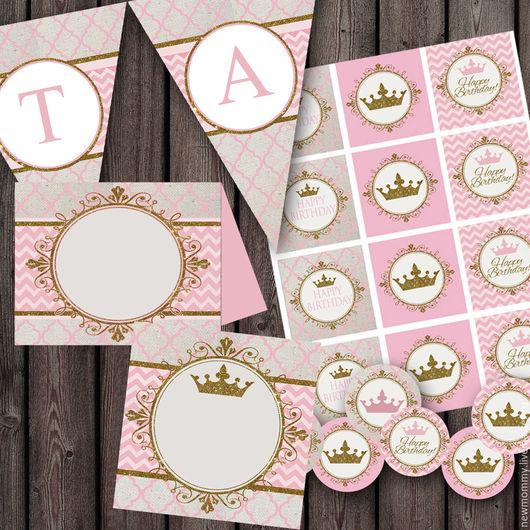 Готовый набор полиграфии Королева для оформления Сладкого стола на празднике (свадьба,девичник,день рождения)
