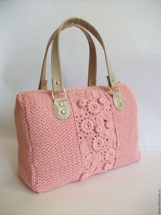 """Женские сумки ручной работы. Ярмарка Мастеров - ручная работа. Купить вязаная сумка-саквояж """"Николь"""", цвет: розовый. Handmade."""