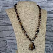 Украшения handmade. Livemaster - original item Necklace with Tiger`s Eye Stone Pendant. Handmade.