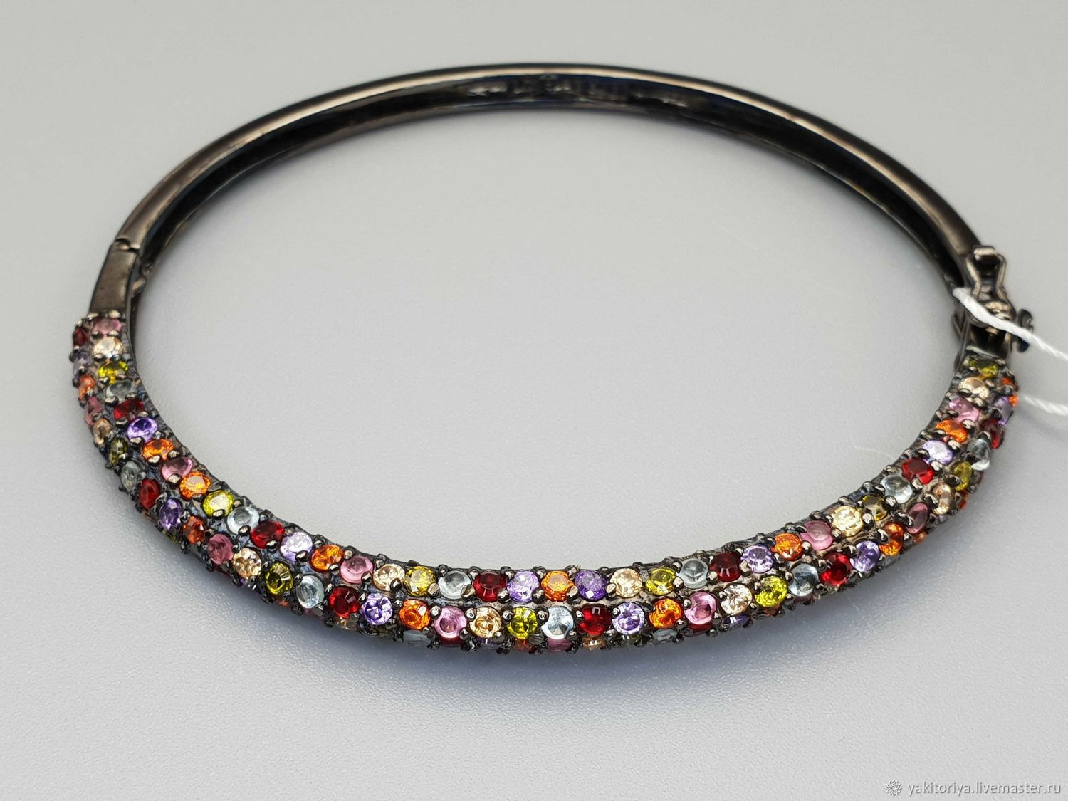 Silver bracelet with topaz, amethyst, citrine and cubic zirconia, Hard bracelet, Moscow,  Фото №1