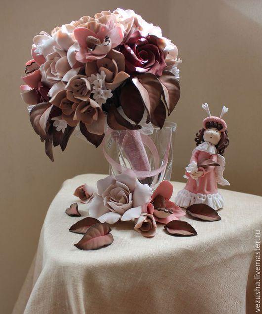 """Свадебные цветы ручной работы. Ярмарка Мастеров - ручная работа. Купить Свадебный букет """"Шоколадный Бриз"""". Handmade. Розовый"""