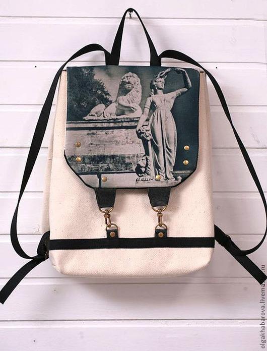 """Сумки и аксессуары ручной работы. Ярмарка Мастеров - ручная работа. Купить рюкзак с принтом """"архангельское"""". Handmade. Белый, хлопок 100%"""