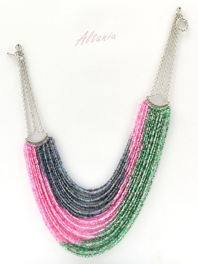 Bright colors. Beaded strands. Author's technique. Original striking massive beaded necklace. Large size.More beaded jewelry from Altania.