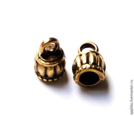 Для украшений ручной работы. Ярмарка Мастеров - ручная работа. Купить Концевик для шнура d.6мм (бронза). Handmade. Золотой