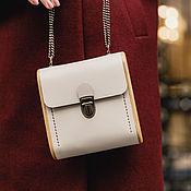 Сумки и аксессуары handmade. Livemaster - original item Handbag with chain - CAPE BRETON-cream leather and wood. Handmade.