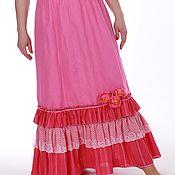 Одежда handmade. Livemaster - original item --40% Linen floor-length skirt fuchsia. Handmade.