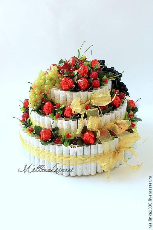 """Букеты ручной работы. Ярмарка Мастеров - ручная работа. Купить Букет из конфет, торт из конфет """"Фруктовое наслаждение"""". Handmade."""
