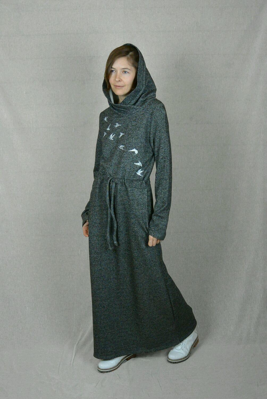 610091765ff4666 Платья ручной работы. Ярмарка Мастеров - ручная работа. Купить Платье  трикотажное с капюшоном и ...
