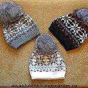 Аксессуары handmade. Livemaster - original item cap with Norwegian patterns and fur POM-POM. Handmade.