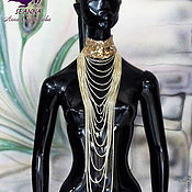 """Украшения ручной работы. Ярмарка Мастеров - ручная работа Роскошное ожерелье """"Золотые цепи"""" из кружева и цепочек в стиле Dior. Handmade."""