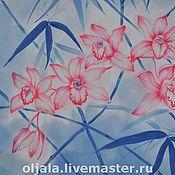"""Аксессуары ручной работы. Ярмарка Мастеров - ручная работа Платок """"Бамбуковые орхидеи"""". Handmade."""