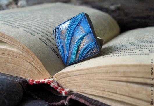 Кольцо из полимерной глины `Танец волн`, автор - Алина Логинова (украшения `Брусника`).