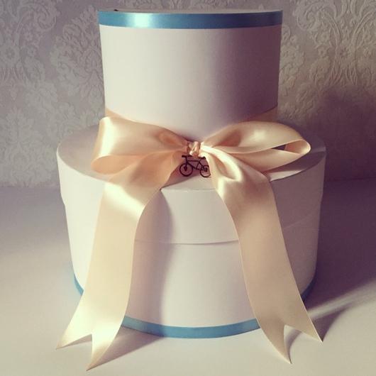 Свадебные аксессуары ручной работы. Ярмарка Мастеров - ручная работа. Купить Свадебный сундучок Вело свадьба в персиковом и голубом цвете. Handmade.
