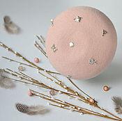 Аксессуары ручной работы. Ярмарка Мастеров - ручная работа Берет мини Розовый с декоративными элементами. Handmade.