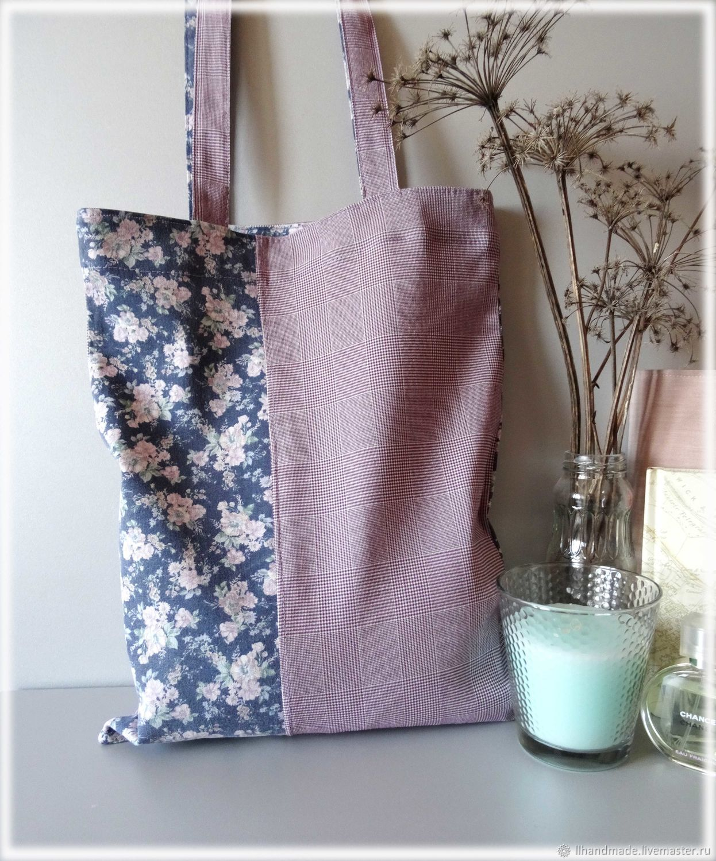 """Эко-сумка """"Сиреневая клетка"""" - сумка из ткани, авоська"""