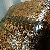 Материалы для творчества handmade. Livemaster - original item Ostrich leather from the lower leg, haberdashery, brown color.. Handmade.