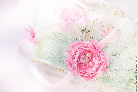 Детская бижутерия ручной работы. Ярмарка Мастеров - ручная работа. Купить Повязка для малышки с розочкой и жемчугом.. Handmade. Розовый