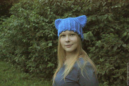 """Шапки ручной работы. Ярмарка Мастеров - ручная работа. Купить Шапка """"Ушки"""" полушерсть. Handmade. Синий, шапка с ушками, голубой"""