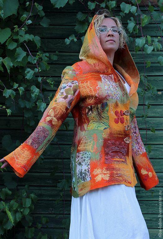 """Пиджаки, жакеты ручной работы. Ярмарка Мастеров - ручная работа. Купить Валяный жакет """"Солнечные дни"""". Handmade. Рыжий, нуновойлок"""