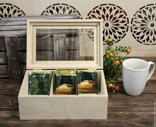 Декупаж и роспись ручной работы. Ярмарка Мастеров - ручная работа. Купить Коробка чайная со стеклом заготовка для декупажа. Handmade.