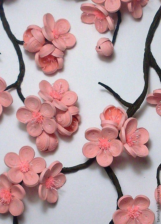"""Купить панно """"Сакура"""" (квиллинг) - сакура, панно, Квиллинг, бумага, картина, бумажные цветы"""
