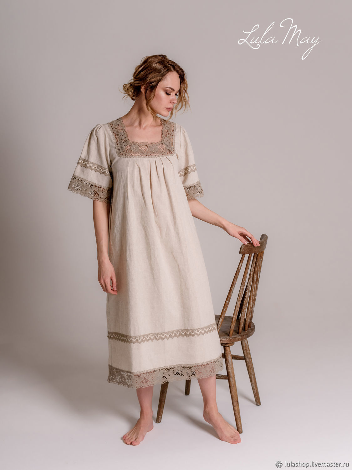 Linen nightgown 'Darling' with beige lace, Combination, Balashikha,  Фото №1