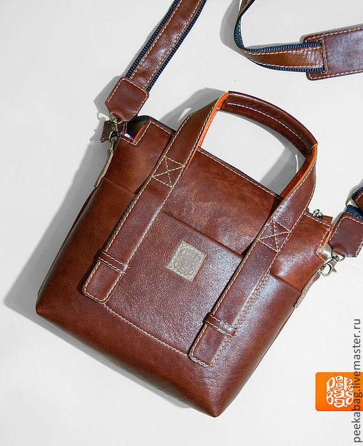 """Мужские сумки ручной работы. Ярмарка Мастеров - ручная работа. Купить Сумка кожаная мужская """"Urban Mini 2 Brown"""". Мужская сумка кожа. Handmade."""
