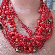 Украшения ручной работы. Ярмарка Мастеров - ручная работа Коралловое  колье ожерелье Натуральный красный коралл. Handmade.