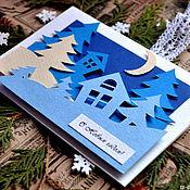Открытки ручной работы. Ярмарка Мастеров - ручная работа Открытка Зимний лес. Handmade.