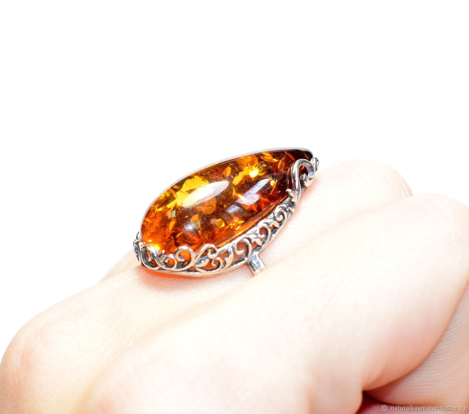 Silver Ring / ring made of natural amber (a), Ring, Moscow,  Фото №1