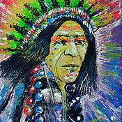 Картины ручной работы. Ярмарка Мастеров - ручная работа Яркая картина акрилом Индеец, необычный портрет 30 на 40. Handmade.