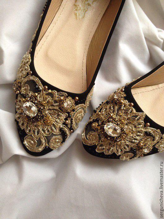 """Обувь ручной работы. Ярмарка Мастеров - ручная работа. Купить Балетки""""Golden Lace""""в стиле DG. Handmade. Итальянское кружево, сверкающая"""