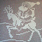 Для дома и интерьера ручной работы. Ярмарка Мастеров - ручная работа Вязаная декоративная накидка на подушку  Санта Клаус на олене. Handmade.