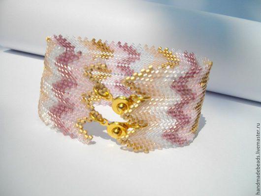 """Браслеты ручной работы. Ярмарка Мастеров - ручная работа. Купить Браслет """"Нежность"""". Handmade. Розовый, золотистый, браслет, бисерный браслет"""