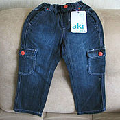 Винтаж handmade. Livemaster - original item Vintage clothing: Dark blue jeans for boy new size 104. Handmade.