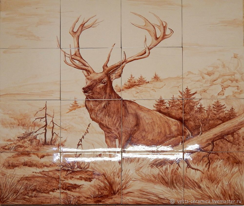 Ceramic panels with a deer, Pictures, Moscow,  Фото №1