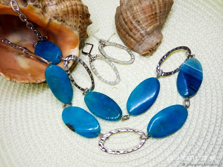 Necklaces, earrings, Laguna agate large crackle, Necklace, Samara,  Фото №1