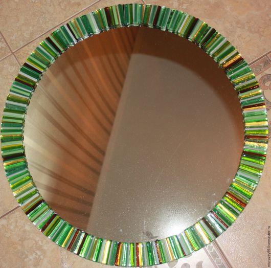 Зеркала ручной работы. Ярмарка Мастеров - ручная работа. Купить Витражное зеркало для ванной. Handmade. Зеленый, коричневый, рама из стекла