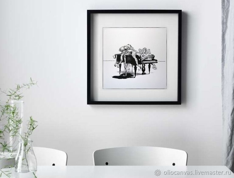Black and white painting 'Octopus on the piano'. Graphics. 30h40cm, Pictures, St. Petersburg,  Фото №1