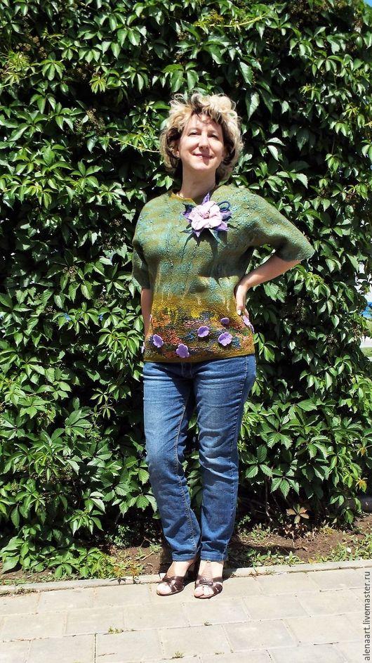 """Кофты и свитера ручной работы. Ярмарка Мастеров - ручная работа. Купить Туника """"Вальс цветов"""" +брошь-цветок. Handmade. Разноцветный"""