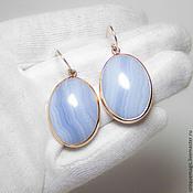 Украшения handmade. Livemaster - original item Gold earrings with agate infinity. 585.. Handmade.