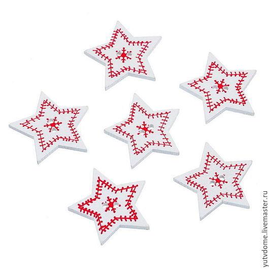 """Шитье ручной работы. Ярмарка Мастеров - ручная работа. Купить 0484 Пуговицы деревянные """"Новогодняя звезда"""". Handmade. Дерево"""