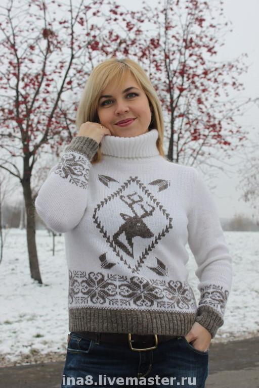Sweatshirts & Sweaters handmade. Livemaster - handmade. Buy Sweater with deer.Sweater, mohair sweater, Norwegian pattern