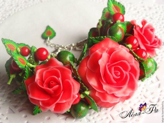 """Браслеты ручной работы. Ярмарка Мастеров - ручная работа. Купить Цветочный браслет """"Розовый сад"""". Handmade. Ярко-красный, браслет"""