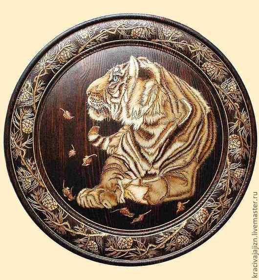 """Животные ручной работы. Ярмарка Мастеров - ручная работа. Купить панно """"Золотой тигр"""". Handmade. Панно, панно в подарок"""