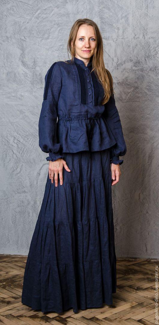 Блузки ручной работы. Ярмарка Мастеров - ручная работа. Купить Удлинённая рубаха с кулиской на талии (Для Марии). Handmade. Однотонный