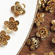 Материалы для творчества ручной работы. Ярмарка Мастеров - ручная работа Шапочки для бусин, золото, металлический цветок, цветы для вышивки. Handmade.