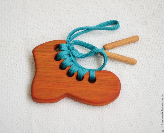"""Развивающие игрушки ручной работы. Ярмарка Мастеров - ручная работа. Купить Шнуровка """"Ботинок"""", деревянная развивающая игрушка. Handmade."""