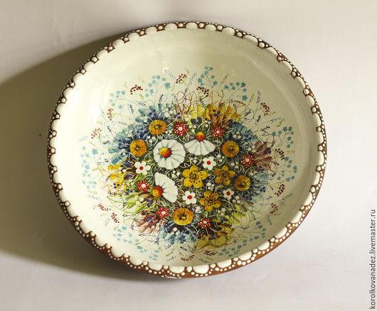 Тарелки ручной работы. Ярмарка Мастеров - ручная работа. Купить Блюдо керамическое  (майолика). Handmade. Керамическое блюдо, посуда с росписью